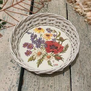 Vtg floral basket glass boho white red decor small